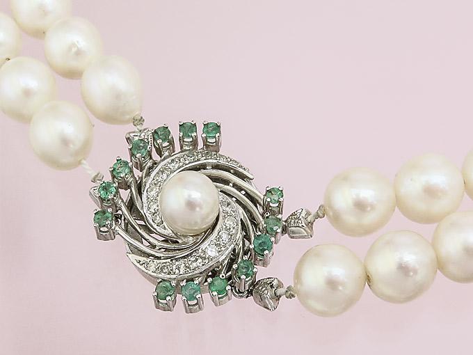 Perlen Kette Smaragde Diamanten 585er Weißgold
