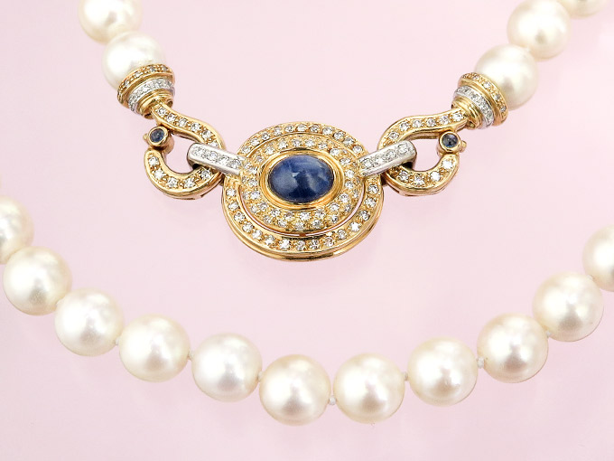 Pearl Collier Diamonds Sapphire 18 Karat Yellow and White Gold Certificate