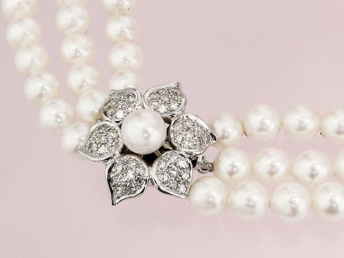 Perlen Collier Diamanten 585er Weißgold