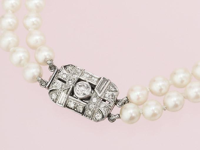 Perlen Collier Diamanten 375er Weißgold