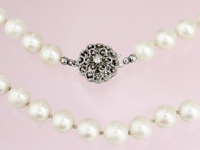 Pearl Necklace Diamonds 14 Karat White Gold