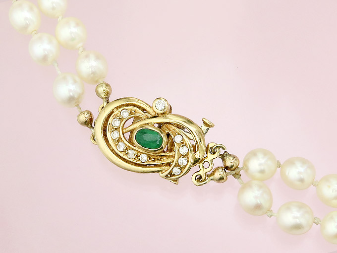 Perlen Collier Brillanten Smaragd 750er Gelbgold