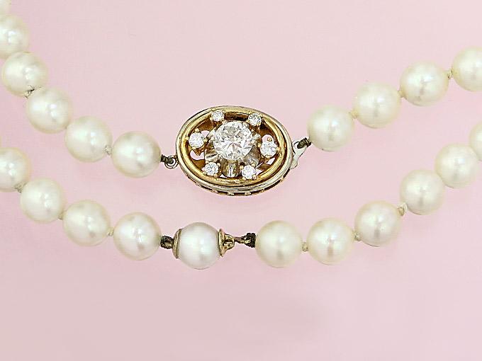Perlen Kette Brillanten 585er Gold