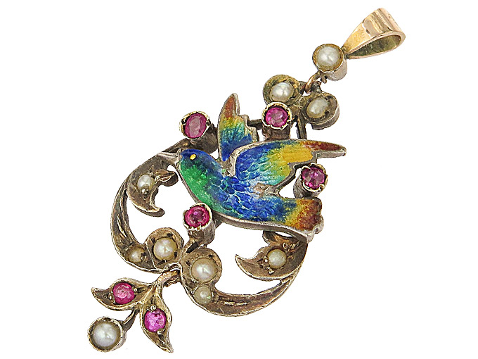 Pendant Bird Enamel Silver Gold Plated Antique approx. 1900