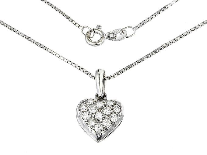 Necklace with Heart Pendant Diamonds 18 Karat White Gold