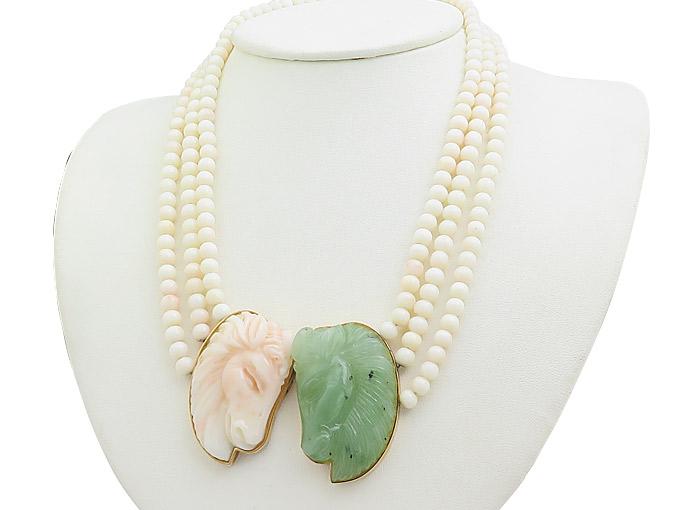Collier Engelhaut Koralle Jade 585er Gelbgold