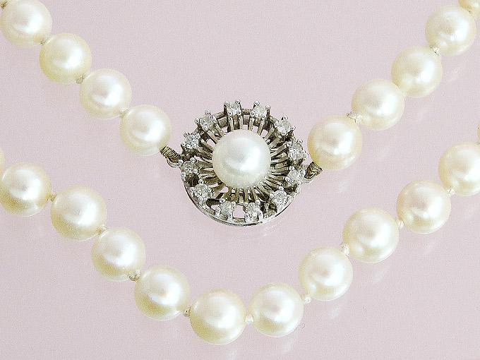 Perlen Kette Diamanten 585er Weißgold