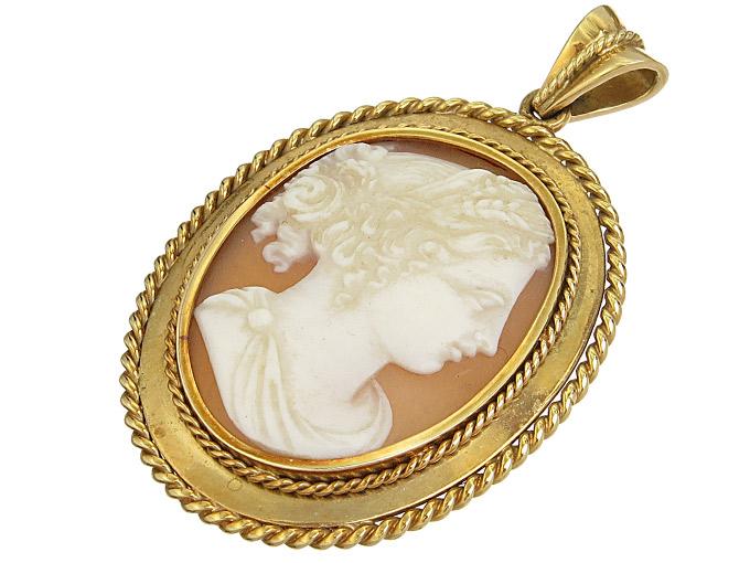 Anhänger Kamee Göttin Demeter 585er Gelbgold