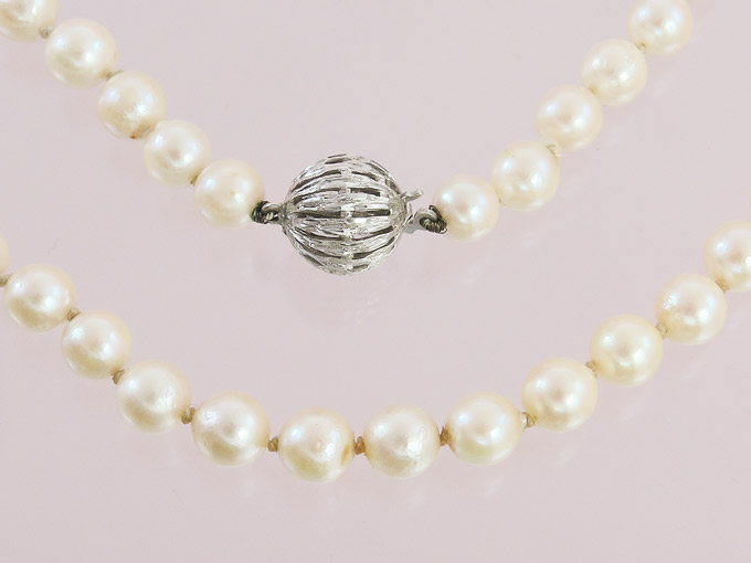 Pearl Necklace 14 Karat White Gold