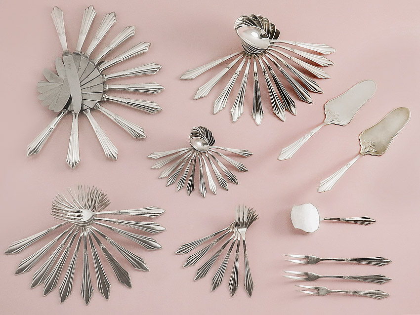 Cutlery WMF Fan Decor around 1920-1925 Silver Plated