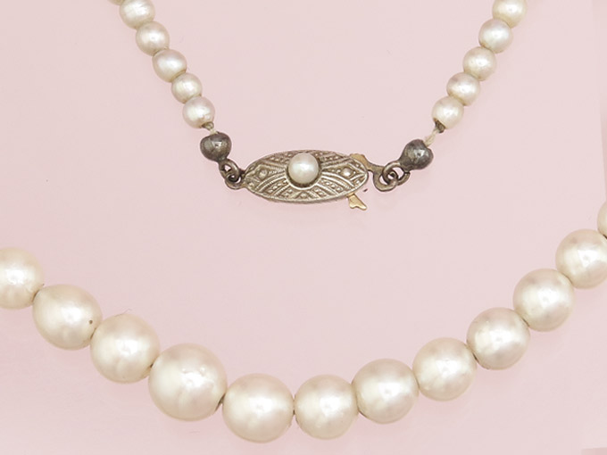Pearl Necklace 14 Karat Yellow Gold approx. 1930-40