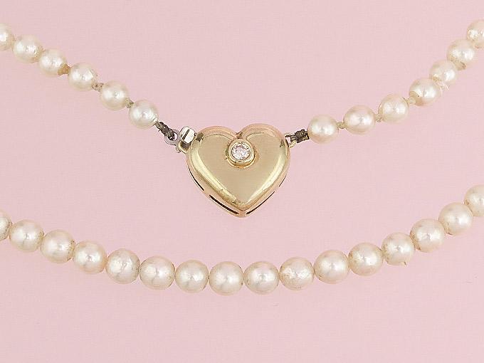 Pearl Collier Heart Diamond 14 Karat Yellow Gold