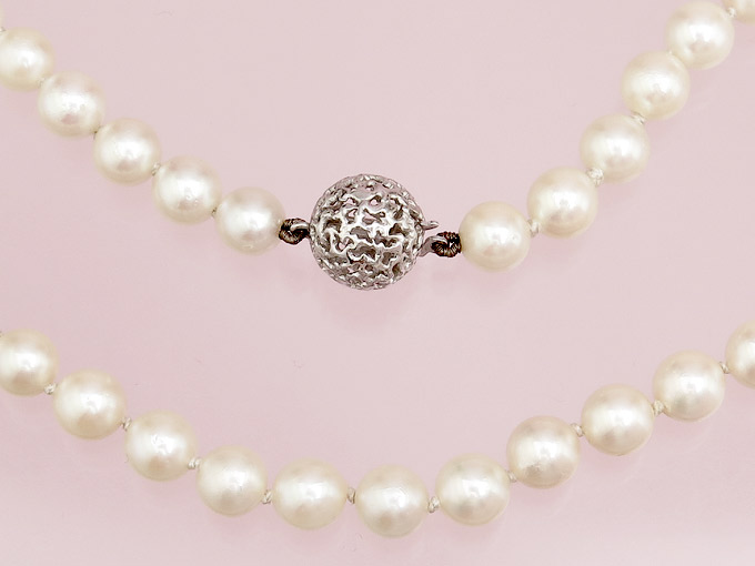 Pearl Necklace 14 Karat White Gold approx. 1970
