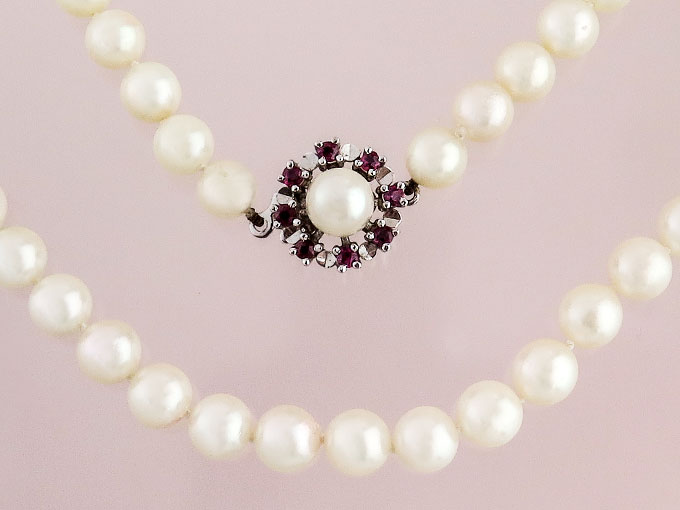 Pearl Necklace Rubies 14 Karat White Gold