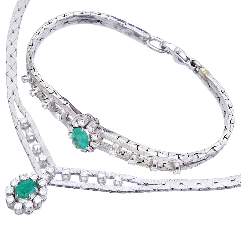 Jewelry Set Two-Part Emerald Diamonds 14 Karat White Gold