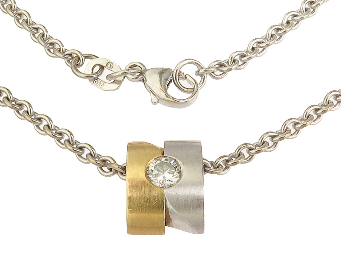 Necklace with Pendant Diamond 18 Karat Yellow and White Gold