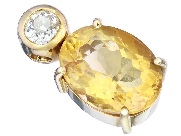 Anhänger Citrin Altschliff Diamant 750er Gelbgold