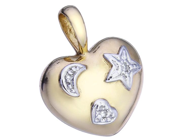 Herz Anhänger Diamanten 585er Gelbgold