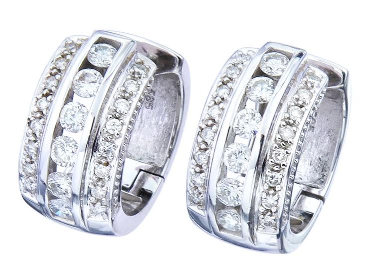 Christ Hoop Earrings Diamonds 14 Karat White Gold