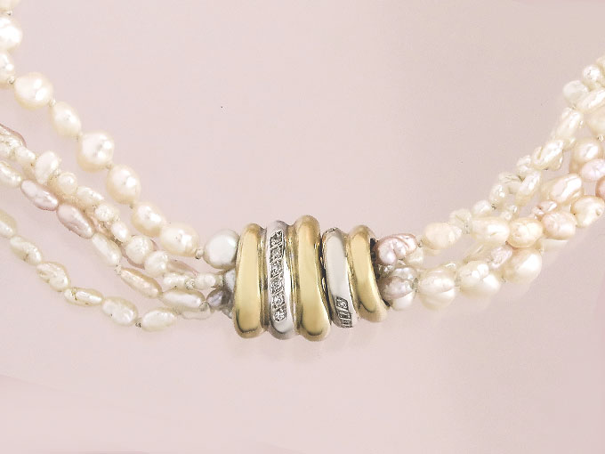 Pearl Collier Pendant Diamonds Interchangeable Clasp 18 Karat Yellow and White Gold