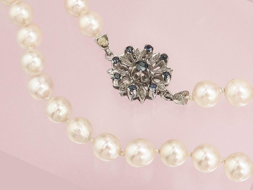 Perlen Kette Saphire 750er Weißgold
