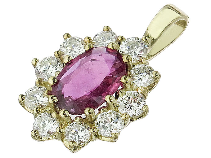 Pendant Ruby Diamonds 14 Karat Yellow Gold