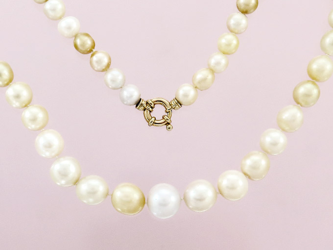 Necklace Fresh Water Pearls 14 Karat Yellow Gold
