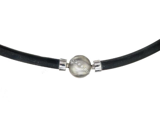 Rubber Necklace Interchangeable Clasp Sphere Diamonds 18 Karat White Gold