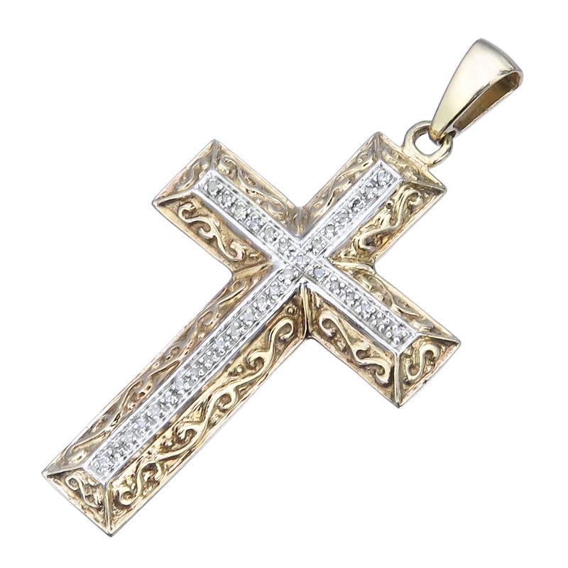 Anhänger Kreuz Diamanten 333er Gelbgold