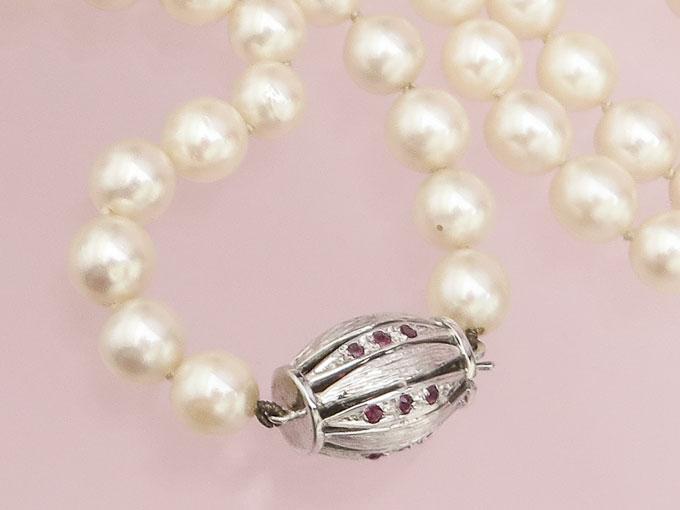 Perlen Kette Rubine 585er Weißgold