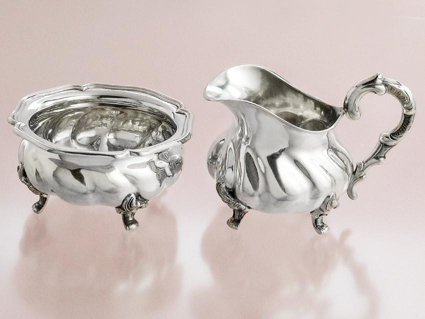 Milch und Zucker Chippendale Dekor Handarbeit 800er Silber