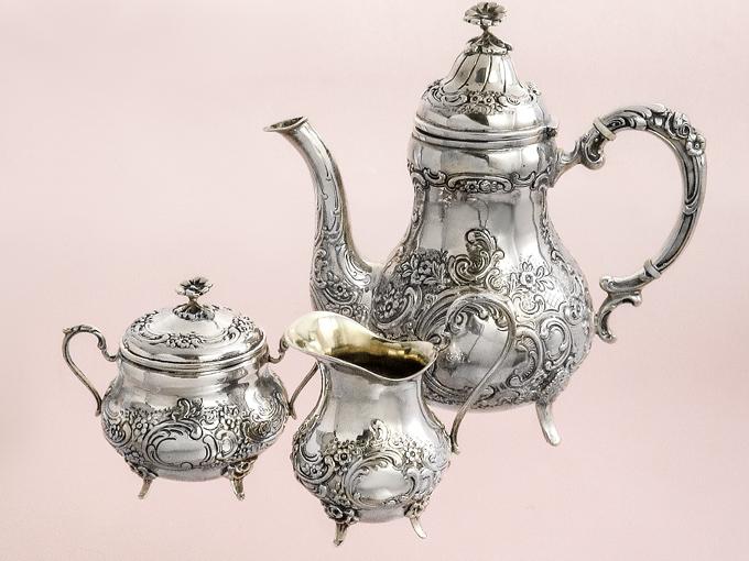 Silberservice Mokkakanne Milchkännchen Zuckertopf 800er Silber