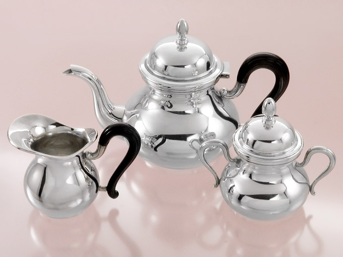 Teapot Milk and Sugar Silver Set Italy 800 Silver