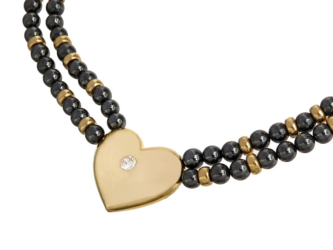 Freisfeld Collier Hämatit Heart Brillant Gelbgold Zertifikat
