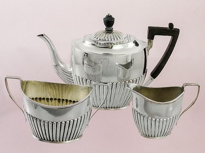 Silberservice Kaffeekanne Milch und Zucker Sheffield 1903 Silber