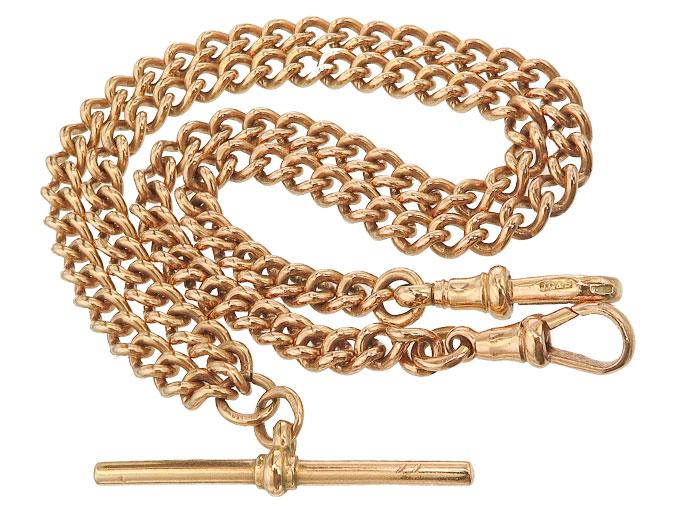 Watch Chain 9 Karat Rose Gold Antique