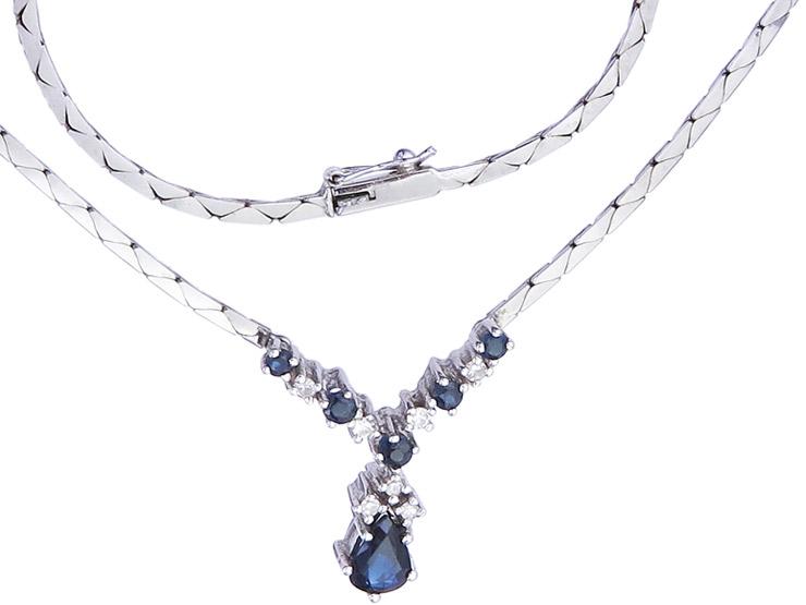 Collier Sapphire Diamonds 14 Karat White Gold