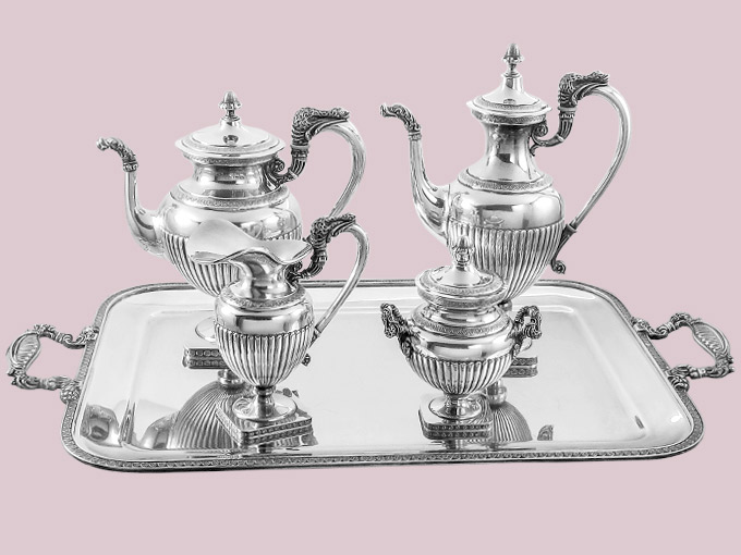 Silver service Coffee Pot Teapot Milk and Sugar in the style of Historicism Italy Silver