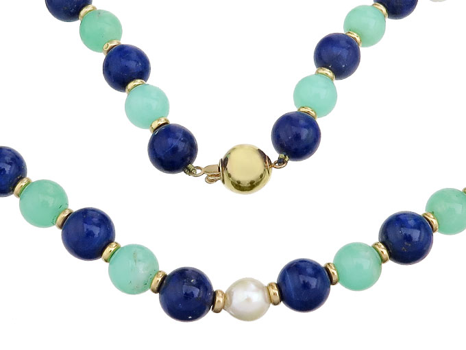 Necklace Lapis Lazuli Chrysoprases Pearls 14 Karat Yellow Gold