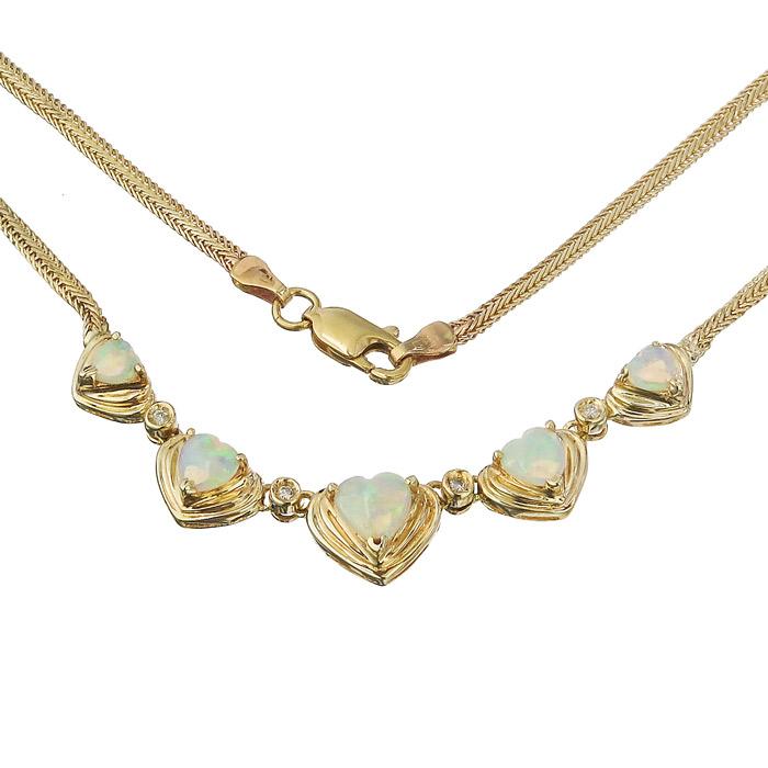 Collier Opal Herzen Diamanten 585er Gelbgold