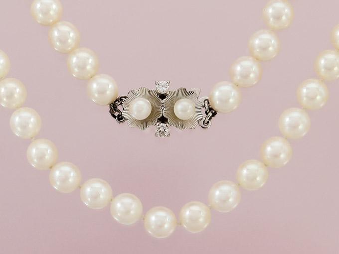 Perlenkette Einreihig Brillanten 585er Weißgold