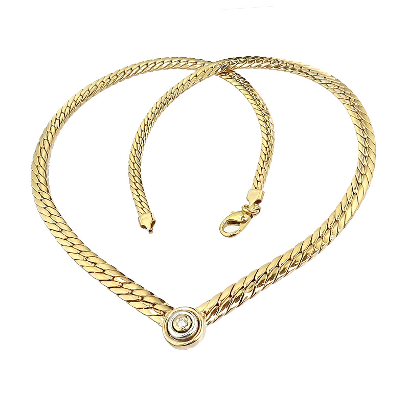 Collier Diamond 14 Karat Yellow and White Gold
