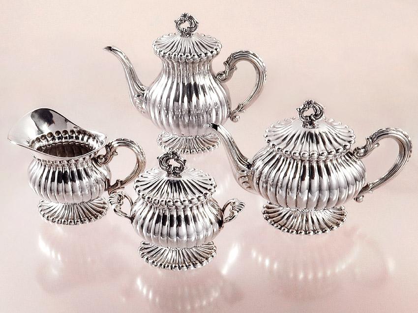 Silberservice Mokkakanne Teekanne Milch und Zucker 800er Silber Italien