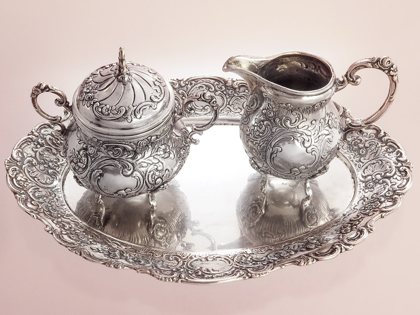 Milk and Sugar Set on Tray 800 Silver