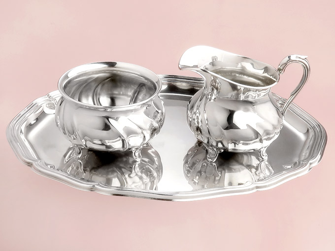 Milk and sugar on a serving tablet silver Chippendale