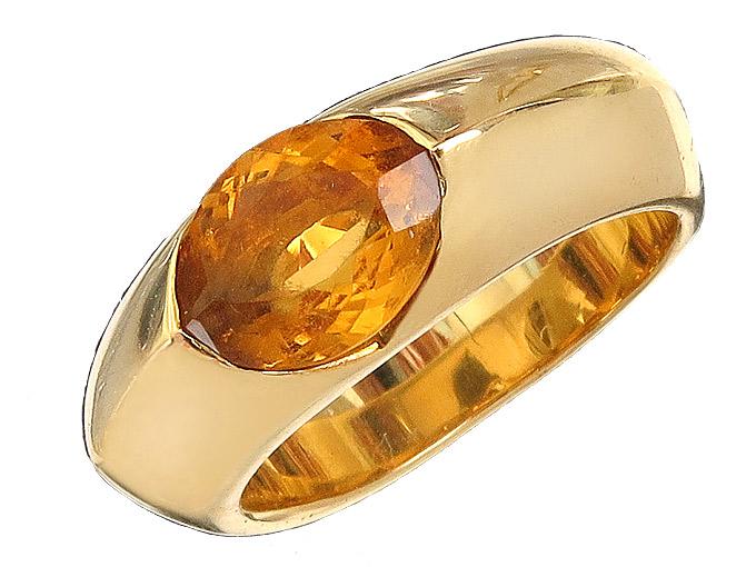 Freisfeld Ring Citrin 18 Karat Yellow Gold Certificate