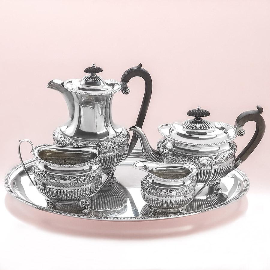 Silberservice Kaffeekanne Teekanne Milch und Zucker auf Tablett Sheffield 1899