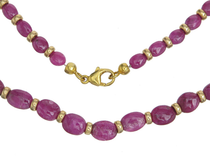 Necklace Rubies 14 Karat Yellow Gold