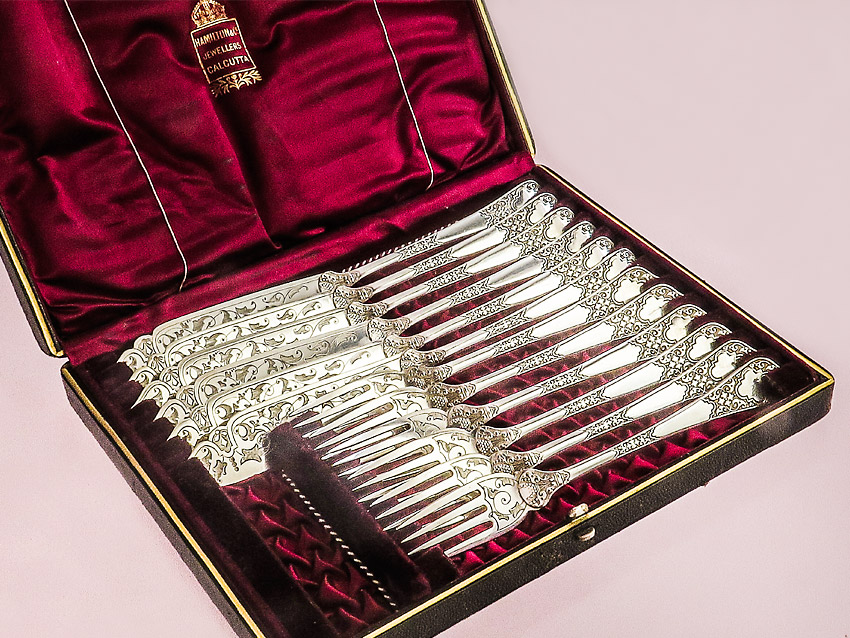 Fish Cutlery Colonial Silver Plated  Roberts & Belk Calcutta around 1900