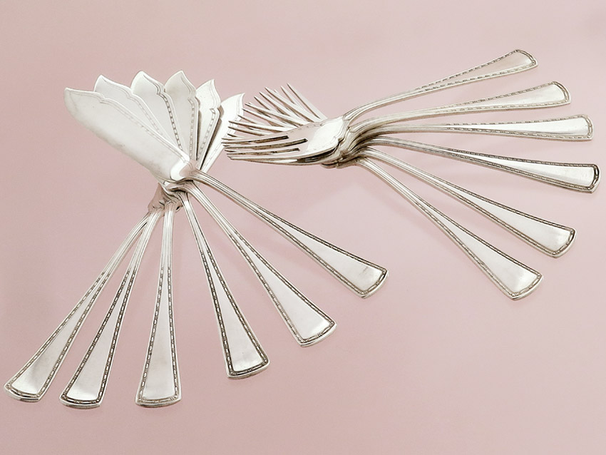 Fish Cutlery Düsseldorf around 1910800 Silver